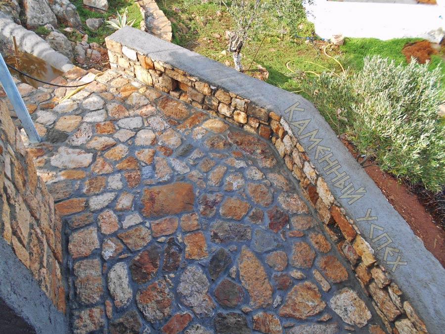 кладка площадки из камня