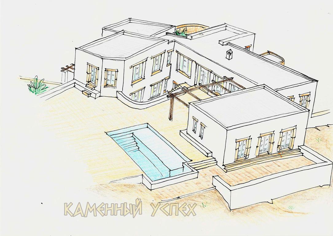 архитектурный план виллы на острове Патмос